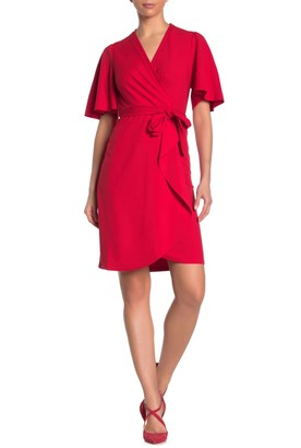 Donna Morgan Short Flutter Sleeve Faux Wrap Dress
