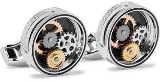 Tateossian Gear Silver-Tone And Carbon Fibre Cufflinks