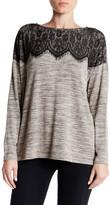 Bobeau Lace Yolk Trim Snit Shirt