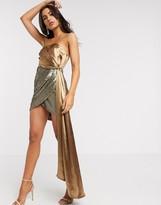 Asos Design DESIGN satin and textured sequin mini dress in caramel