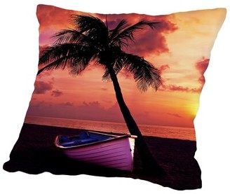 "East Urban Home Beach Nature Holiday Travel Cotton Throw Pillow Cover Size: 14"" H x 14"" W"