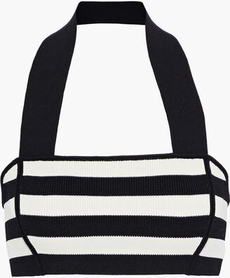 KHAITE Janet Striped Stretch-knit Halterneck Bra Top