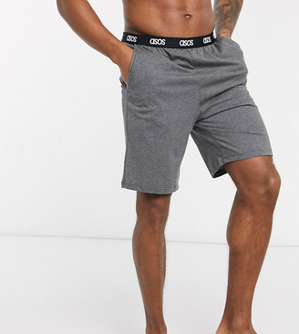 Asos Design DESIGN lounge pyjama shorts in charcoal marl with branded waistband-Gray