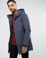 Pull&Bear Parka With Hood In Navy