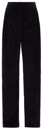 The Row Caylan High-rise Cotton-corduroy Wide-leg Trousers - Black