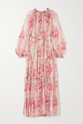 Needle & Thread Ruby Bloom Ruffled Floral-print Fil Coupe Chiffon Gown - Pastel pink