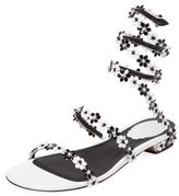 Rene Caovilla Floral Ankle-Wrap Sandal