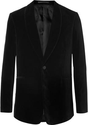 The Row Black Archer Slim-Fit Shawl-Collar Cotton-Velvet Tuxedo Jacket