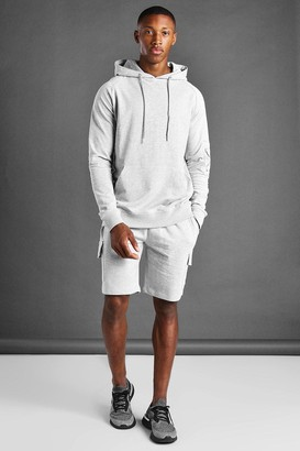 boohoo Mens Grey Cargo Short And Hoodie Set, Grey