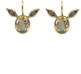 Cathy Waterman Aquamarine Deer Yellow Gold Drop Earrings