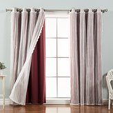 """Best Home Fashion Mix & Match Dotted Tulle Lace & Solid Blackout Curtain Set – Antique Bronze Grommet Top – Burgundy – 52""""W x 96""""L – (2 Curtains and 2 Sheer curtains)"""