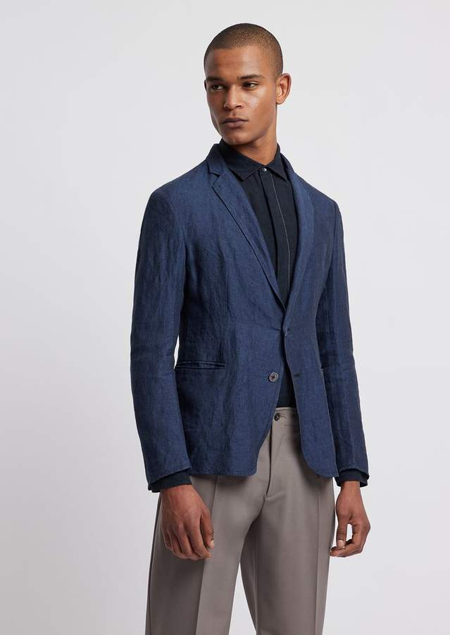 4485c5940f Slim Fit Single-Breasted Jacket In Chambray Linen