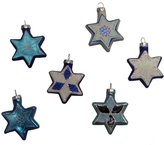 Kurt Adler Glass Jewish Stars with Glitter Ornament, Set of 6