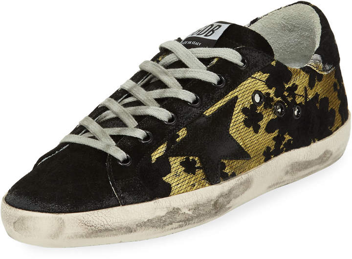 Golden Goose Superstar Two-Tone Fabric/Suede Low-Top Sneakers