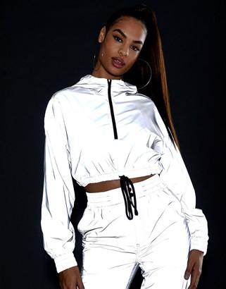 Asos Design DESIGN reflective cropped tracksuit jacket-Silver