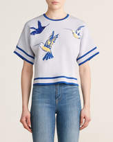 Carolina Herrera Hummingbird Short Sleeve Wool-Blend Dolman Top