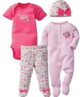 Gerber 4-Piece Floral and Stripe Bodysuit, Footie, Footed Pant, and Hat Set