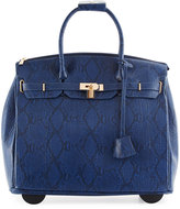 Neiman Marcus Madison Faux-Leather Snake-Embossed Rolling Bag