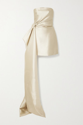 Reem Acra Draped Mikado Mini Dress - Sand