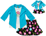 Dollie & Me Turquoise Floral Skirt Set & Doll Outfit - Girls