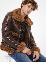 Michael Kors Distressed Patent Leather Shearling Jacket