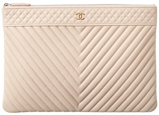 Chanel White Caviar Leather Large O-Case Zip Pouch