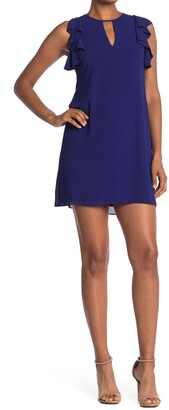 Vince Camuto Ruffled Keyhole Front Chiffon Mini Dress