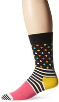 Happy Socks Men's 1pk Unisex Combed Cotton Crew-Pink Stripes and Dots
