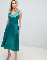 Thumbnail for your product : Little Mistress lace trim slinky midi dress in green