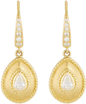 Penny Preville Small 18k Gold Fluted Diamond Pear Drop Earrings