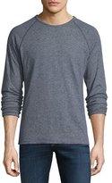 Billy Reid Mini-Stripe Raglan-Sleeve Knit Sweater, Navy