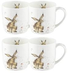 """Royal Worcester Wrendale Rabbit Mug """"Good Hare Day"""" - Set of 4"""