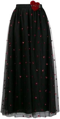 RED Valentino love heart mesh skirt