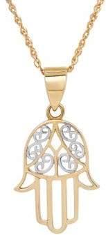 Lord & Taylor 14K Gold Filigree Hamsa Hand Pendant Necklace