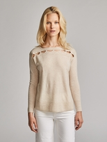 White + Warren Cashmere Cutout Detail Bateauneck