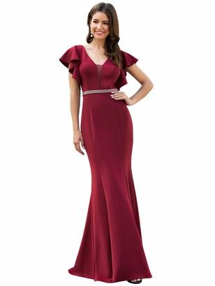 Ever Pretty Ever-Pretty Women's V Neck Floor Length Flutter Short Sleeve Mermaid Bridesmaid Dresses Burgundy 16UK