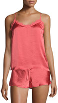 Band of Gypsies Satin Lace-Back Cami, Coral