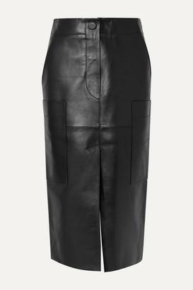 Petar Petrov Ria Leather Midi Skirt - Black