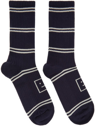 Acne Studios Navy Motif Jacquard Striped Socks