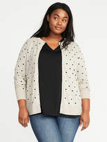 Old Navy Semi-Fitted Embroidered-Dot Plus-Size Cardi