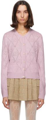 Gucci Pink Wool GG Crochet Cardigan