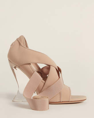 Christian Dior Nude Etoile Wedge Ankle-Wrap Sandals