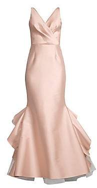Sachin + Babi Women's Chesterton Satin Wrap Bodice Mermaid Gown