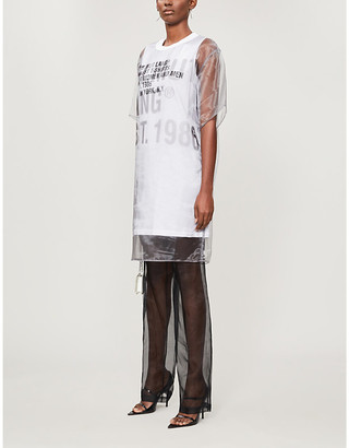 Helmut Lang Finest logo-print cotton-jersey and tulle mini dress