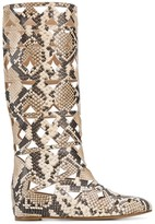 Casadei snake print cut-out boots