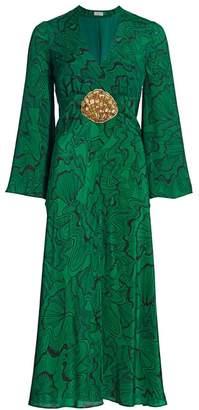 Rixo Indra Shell-Print Silk Midi Dress
