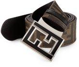 Fendi Zucca College Reversible Belt Logo Brown New