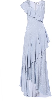 True Decadence Ice Blue Brocade Asymmetric Maxi Dress