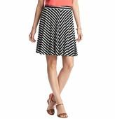 LOFT Mitered Stripe Swingy Elastic Waist Skirt