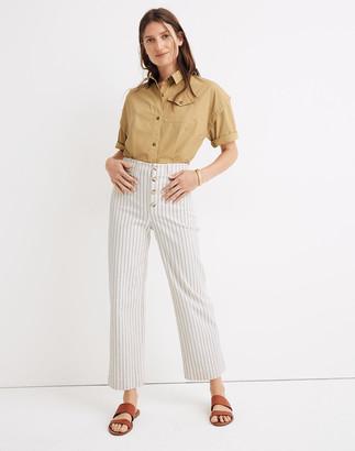 Madewell Slim Emmett Wide-Leg Crop Pants in Indigo Stripe: Button-Front Edition